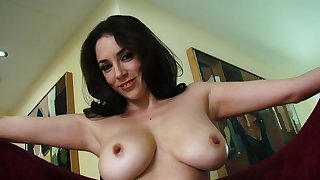 Brunette with large boobs provides one of a kind solo