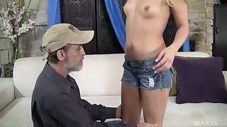After wild sex Megan Sweet is on her knees waiting for a facial