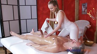 Massage Rooms Loud orgasms and creampie for fat cock