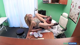 Weaken fucks his young patient after licking her pussy time again