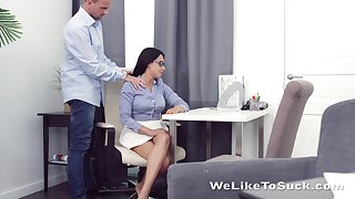 Kinky teacher fucks mouth anus and pussy of nerdy brunt partisan Chanel Lux