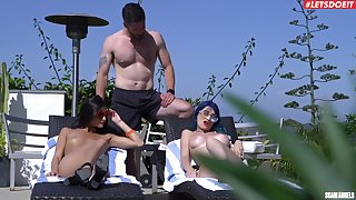 Coitus by the lake in wonderful amateur threesome