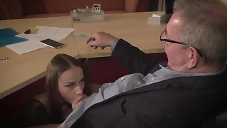 Amazing brunette more glasses is having a ffm threesome within reach work and enjoying it a middle